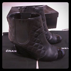 Chanel wedge boots size 38please know your sizing.